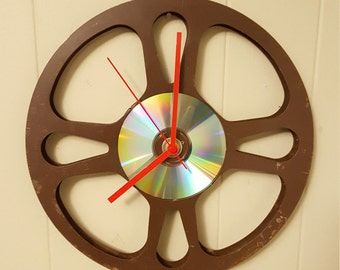 Film Reel Clock,  Reel Film Clock, Clock Film Reel, Retro Clock, Wall Hanging, Unique Clock, Upcycled Film Reel, Movie Time, Man Cave Gift