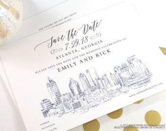 Atlanta Wedding Save the Date Cards, Save the Dates, Atlanta Skyline, Georgia Wedding, Hand Drawn (set of 25 cards and envelopes)