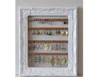 Custom Jewelry Organizer | Hanging Earring Organizer | Framed Earring Holder | Hanging Jewelry Organizer | Wall Earring Display Holder