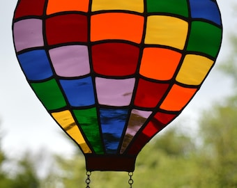 Big Hot Air Balloon (Multicoloured) - Stained Glass Suncatcher
