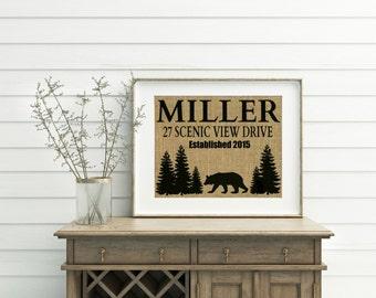 Personalized Address Sign - Burlap Print - Cabin Signs - Address Sign - Cabin Gifts - Address Print - Cabin Wall Decor - Black Bear Decor