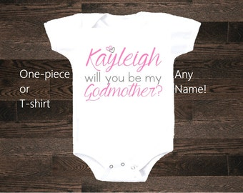 Godparents Godmother Godfather shirt tshirt bodysuit body suit pregnancy announcement Aunt Uncle friends will you be my baptism christening