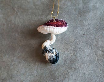 Big white-rot mushroom pendant,fiberart, soft sculpture,