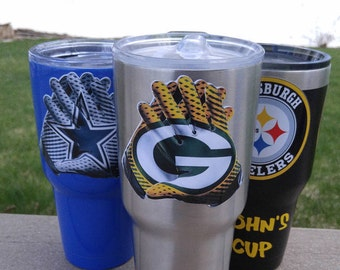"""New! Green Bay Packers """"Glove"""" 30oz Custom Tumbler Decal Sticker FREE  Fast Shipping! Buy 2 Get 1 Free! Best Seller! Only Here! 2 Styles!"""