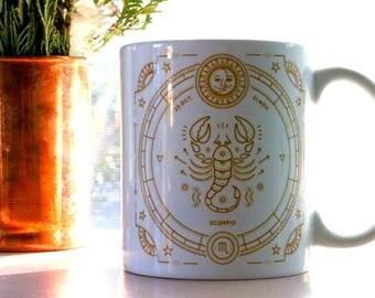 Scorpio astrology mug   scorpio zodiac coffee cup   scorpio zodiac mug
