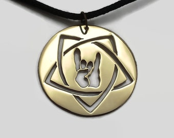 Devil Horns Pentagram Pendant Necklace on Black Cord Choker - Heavy Metal Jewelry in Brass, Copper or Stainless Steel