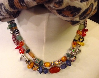 Ethiopian Ethnic  beads necklace, old silver and old trade beads,  silver telsums, and new semi prescious beads.s