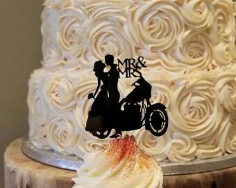 Motorcycle Cupcake Topper Mr Mrs Wedding Cake Custom Grooms