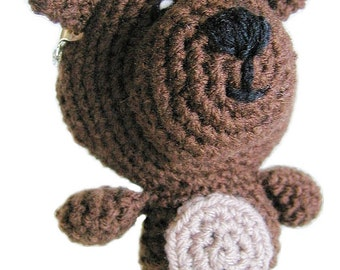 Handmade bear crochet coin purse with metal clasp, kids animal purse