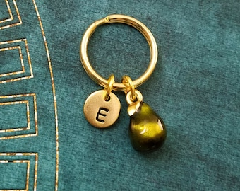 Pear Keychain VERY SMALL Green Pear Charm Keychain Pear Keyring Fruit Keychain Food Keychain Personalized Keychain Initial Keychain Letter