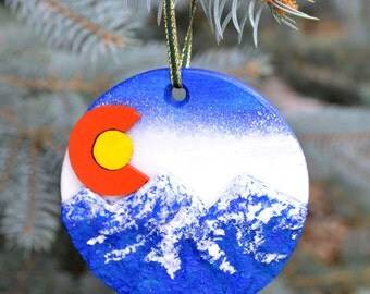 Colorado Flag Sculpted Christmas Ornament