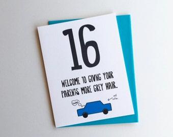 Funny 16th Birthday Card // 16th Birthday Card //