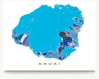 Kauai Map Wall Art Print, Kauai Hawaii, Hawaiian Islands USA, Map Prints