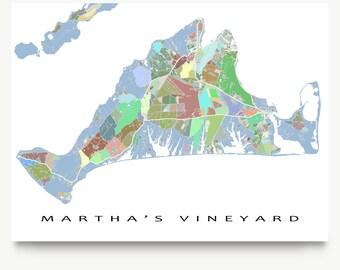 Martha's Vineyard Map Print, Martha's Vineyard Massachusetts USA, The Vineyard