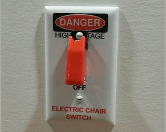 ELECTRIC CHAIR SWITCH Plate with Toggle - Light Switch Wall Plate Cover - gag gift single gang mancave