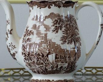 Royal Worcester Palissy coffee pot. 1790 Avon Scenes Palissy England. Brown transferware.