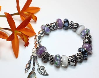 LILAC LOVE BRACELET~with Genuine Pandora Bracelet Option and European Style Beads/Charms