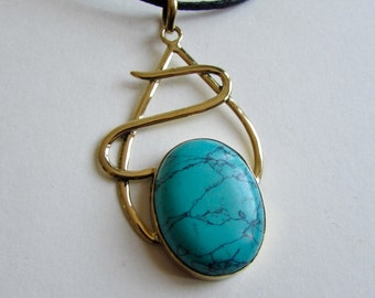 Turquoise Gemstone and Brass on Wax Cord  Long Pendant T1 Adjustable Free UK Shipping + Gift Bag BP17