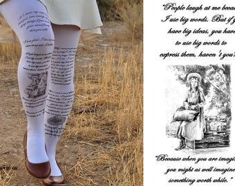 Clothing -Anne of Green Gables - Tights Quotes - size S / M / L full length -Dark Olive Green- Gray,Blue,Antique Pink