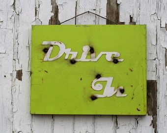 Drive-In sign, 50s Drive-In, metal vintage sign, vintage pink sign, drive-in restaurant, metal cafe sign, hot food sign, drive-in food