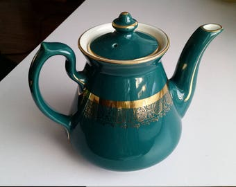 Hall Teal and Gold Teapot