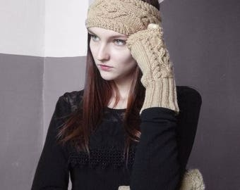 Set knitted headband and fingerless Wool fashion accessories Set warm hairband fingerless hand Knitted headband gloves Gift for women