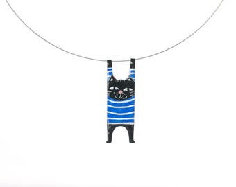 Cat Necklace, Colorful Necklace, Stainless Steel, Handpainted Jewelry, Whimsical Pendant, Enamel Necklace, Quirky Jewelry, Cat Lover Gift