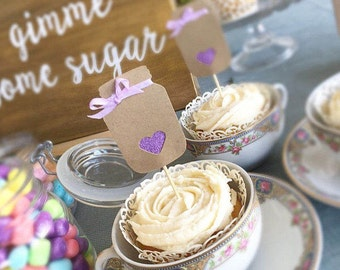 Set of 12 - Mason Jar Cupcake Toppers / Glitter Purple Hearts / Purple Ribbon / Food Picks / Birthday / Wedding / Bridal Shower