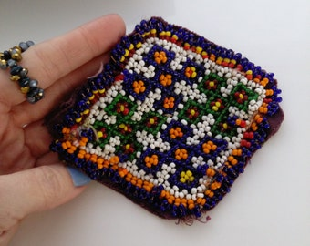 "4.75"" X 4"" Diamond Shape Beaded Tribal Applique Sew-on Patch Kuchi Kochi Boho Chic Ethnic Adornment For Diy Crafts Jean Jackets Ats"