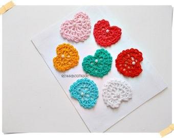 Crochet Applique, Crochet heart, Motif heart, craft supplies, Embellishment Crochet heart, scrapbooking, Heart Applique, wedding decorations