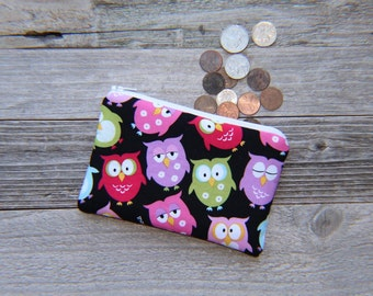 Pink OWLS Coin Purse, Zipper Pouch, Cotton, Padded, 4 x 6 inch (Black)