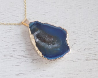 Gift For Her, Navy Blue Druzy Necklace, Geode Necklace, Layering Necklace, Sliced Agate Necklace, Gemstone Necklace, Boho Necklace, 8-449