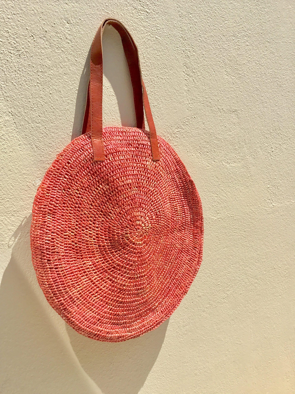 round straw bag market bag french market bag raffia bag