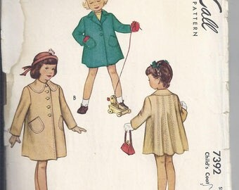 McCalls 7392 from 1940's Vintage Sewing Pattern, Child's Coat:  Notched lapel or round collar. Breast 23  UNCUT