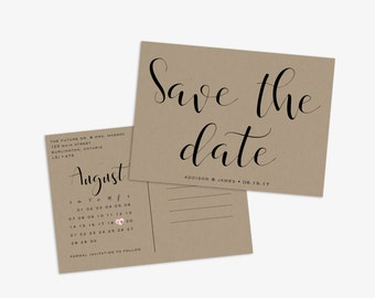 Calendar Save the date Postcard, Kraft Paper Save the Date, Rustic Save the Date, Printable Save Our Date, Wedding Announcement