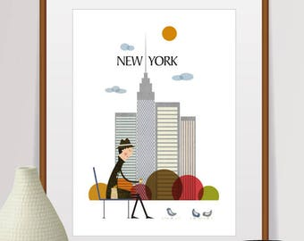 New York Print, Travel Poster, New York Gifts, New York Skyline, City Prints, New York City, Retro Poster, New York Poster, Prints, Wall Art