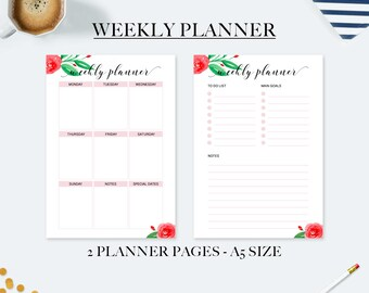Wedding planner, a5 weekly planner inserts, weekly planner 2018, to do list notepad, desk accessories for women, gift mom, planner refill