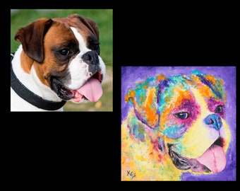 Custom Pet Portrait Painting. Dog, Cat, Reptile, Amphibian, Goat, or Any Other Pet. Pet Portrait Artist. Colorful Pop Art Pet Paintings!