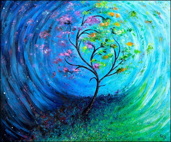Psychedelic Landscape Art Print entitled Self Evolving. Tree, Day Rotating into Night. Surrealism, Visionary Art, Impressionism Wall Art.