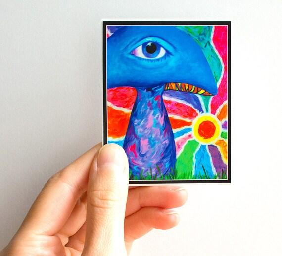 Psychedelic Sticker - Vinyl Sticker, Laptop Sticker, iPad Sticker, Car Sticker, Mushroom Sticker, Mushroom Decal, Shrooms.