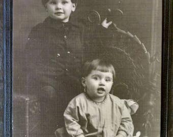 Old Photo, Early 1900s, Two Toddler Boys, Lewis & Wolf Photographers, Beautiful Folding Cardboard Frame