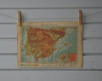 1952 Vintage Spain & Portugal Map