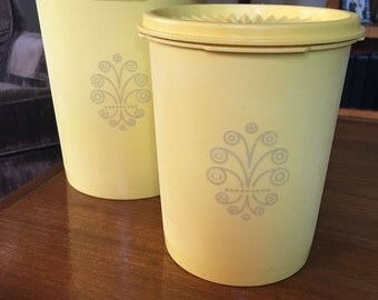 Vintage Yellow Tupperware Canisters (set of 2)