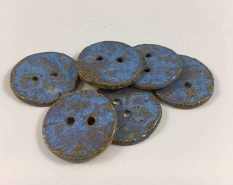 Blue ocean creatures Ceramic Buttons, Set of 6 Buttons, Sewing Supplies, Blue Pottery Buttons