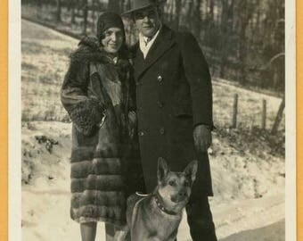 Original Vintage Snapshot Found Photo Vernacular Photo Well Dressed 1930s Couple Woman in Fur Coat German Shepard Dog 30s Fashion -C25