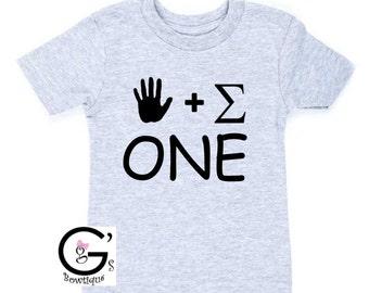 Funny Nerdy Math Geek Hand Sum First Birthday Shirt - ONE Birthday Shirt - 1st Handsome Birthday Shirt 1st Birthday Shirt - Boys