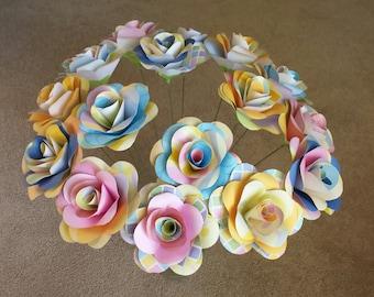 pastel paper bouquet - 2 bouquets - 8 mixed pastel paper flowers per bouquet - paper flowers with stems