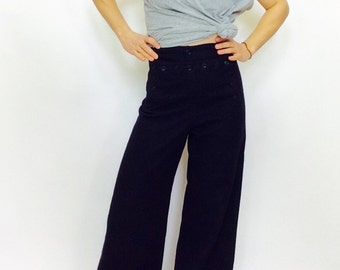 Vintage wool bellbottoms Vintage high waisted pants navy wool sailor pants vintage sailor pants vintage navy pants wool 28 waist pants wool