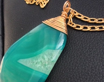 Green Agate Druzy Pendant (with gold plated wire wrapped top)