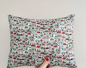 REDUCED! Winter/ Christmas padded cushion with super sweet houses and Christmas trees!